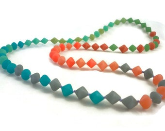 Rainbow long necklace unique polymer bi cone beads