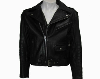 Vintage Motorcycle Jacket Mens Classic Black Leather Punk Biker Coat Mns Size 40 Made In Korea