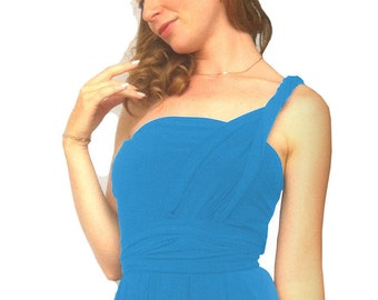 Convertible/Infinity Dress - blue turquoise   color  floor length with long straps Multiway Dress