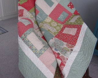 """Odds And Ends Quilt Wonky """"Square In A Square"""""""