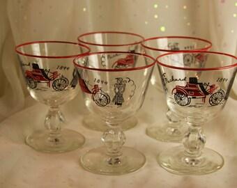 5 Stemmed Packard 1899 Glasses Red rimmed Car decor Mancave Cordials Shots