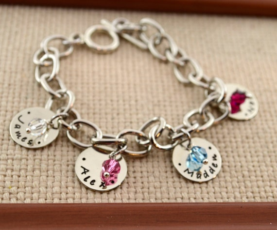 Personalized Link Bracelet with Kids Names, Personalized Bracelet, Custom Bracelet, Mom, Mommy, Mother, Birthstone