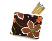 Zipper Pouch - Vintage Brown Floral Fabric - Handmade - Credit Card Case - Makeup Pouch