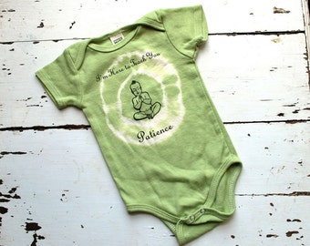 3-6m, Patience Buddha Baby Onesie - Organic, Avocado Green,-tie dye baby clothes, yoga baby, short sleeved baby