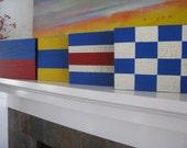 TWO---Nautical Signal Flag Signs--Letter Initials --Weddings--Birthdays---Room Decor