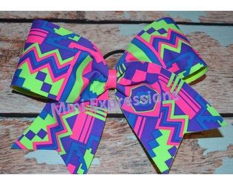 """3""""  Neon Aztec Cheer bow"""