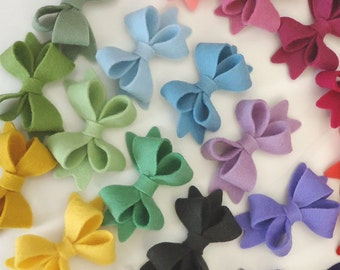 Wool felt hair clip double bow alligator clip (pick size and colour)