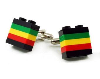 JAMAICA striped cufflinks made with LEGO® bricks FREE shipping gift idea