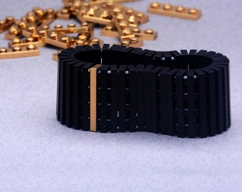 Black bracelet with real gold plated brick made with LEGO® bricks