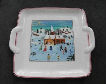 Vintage Villeroy and Boch CHRISTMAS NAIF Tab Handled Plate, Nativity Scene