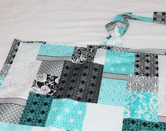 Teal and Grey Squares Nursing Cover