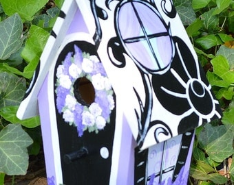 Decorative Elegant Damask Hand Painted Birdhouse
