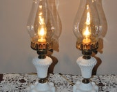 Pair of Hobnail Milk Glass Dresser lamps with Chimney shades  16 1/2 inches tall