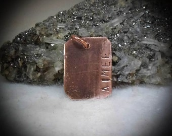 Aimee Hand Stamped Copper Pendant Charm Dangle FOB Name Tag
