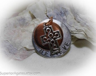Believe Hand Stamped  Necklace Aluminum Copper