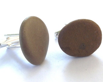 Beach Pebble Cuff links. Eco friendly. Beach jewelry by Oceangifts