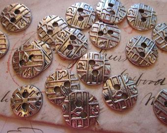 20 metal buttons - textured pattern - silver metal buttons