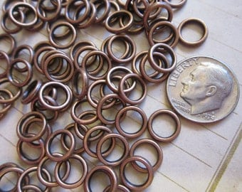 50 copper colored rings - 8mm
