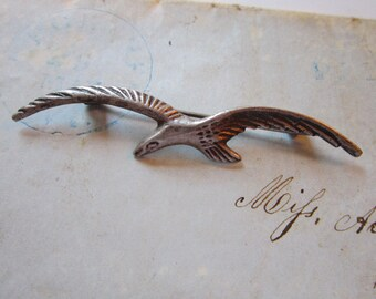 vintage sterling silver SEAGULL brooch - marked Mexico silver - ocean bird pin