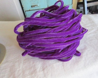 1 yard PURPLE velvet cording - millinery supplies, rayon velvet - home decor, sewing