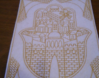 Gold embroidered Jerusalem Hamsa iron on patch, ready to ship