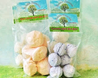 Luxurious All Natural Bath Fizzy Bon Bons with Essential Oils - Lemongrass, Lavender, Ylang Ylang, Lime, Sweet Orange, Geranium Aromas