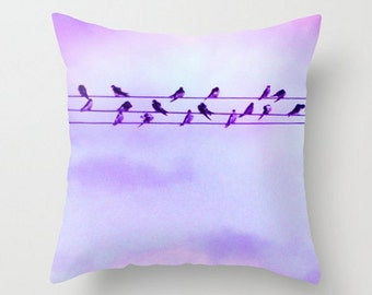 Birds Throw Pillow Cover, on a Wire, Fine Art Photography, Cute, Nursery, Bird Home Decor, Feathers, Fluffy, Soft, Nature Pillow Case, Blue