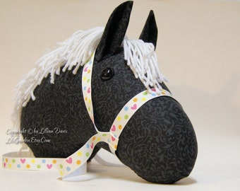 Stick Horse Head, Black Floral with White Mane, MADE to ORDER, With or Without Stick