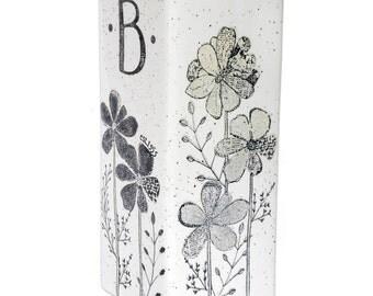 5056flo-f Hand Painted Personalized Wedding Vase, Monogram Ceramic Vase Personalized 50th Anniversary, Personalized Monogram Wedding Vase