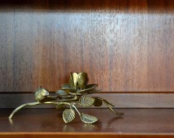vintage brass bird on a branch floral candle stick holder
