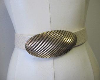 Vintage Mimi Di N Gold Tone Belt Buckle Faux Snakeskin Belt