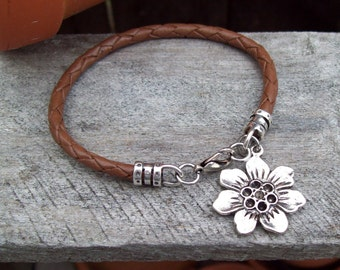 Brown Bola Leather Bracelet with Bohemian Flower charm - Silver - braided brown leather bracelet - stacking bracelet