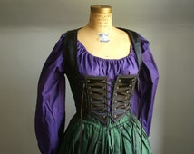Purple cotton peasant blouse shirt chemise for renaissance medieval faire gypsy steampunk pirate -ready to ship-