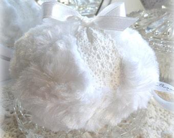 Body Powder Puff - white plush and white crochet lace, soft plush bath pouf - gift box option - by Bonny Bubbles