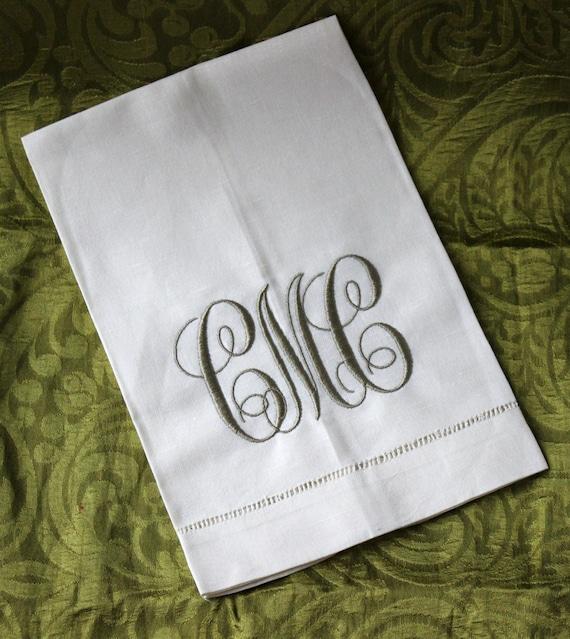 Monogrammed Hemstitched Ecru Linen Guest Towel