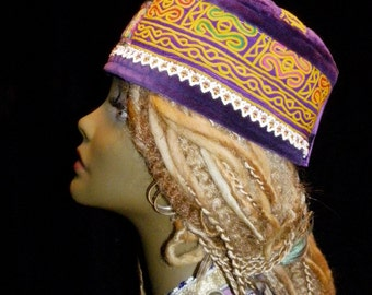 Gypsy World Peace Hat Vintage Purple Velvet Vintage Afghan Embroidery Beadwork Vintage Indian Embroidery Mirror Work Thai Embroidery Kufi