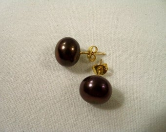 Lovely Vintage Brown Cultured Pearl Signed 925 Sterling Pierced Earrings
