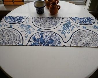 KATSUGI BLUES Porcelain Blue and White Suzani Ikat Table Runner