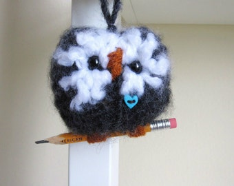 Knitted Ornament, Wool Love Owl, Charcoal Grey with aqua-blue heart
