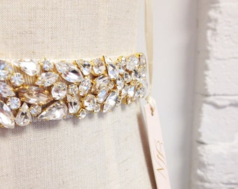 Swarovski Crystal Bridal Sash- Gold Crystal Bridal Belt- Blush Bridal Belt