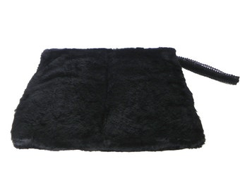 Vintage Fur Muff 30s Soft Black Fur Muff with Purse - on sale