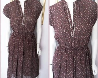 Vtg.70/80s Chocolate Brown Dotted Secretary Disco Dress.S/M.Bust 36-38.Waist 22-34.
