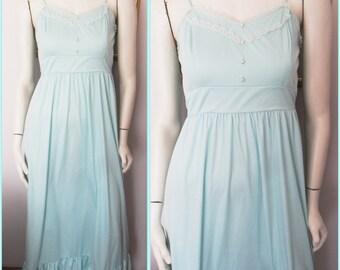 Vtg.70s Seafoam Green Lace Pearl Button Maxi Sun Dress.S.Bust 34.Waist 28.