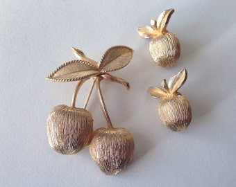 Vintage 1960s Sarah Coventry Cherries - Brooch and Earrings Set - Mad Men Fashions