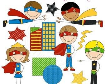Super Hero Stick Figures Cute Digital Clipart for Card Design, Scrapbooking, and Web Design - Commercial Use OK - Super Hero Graphics