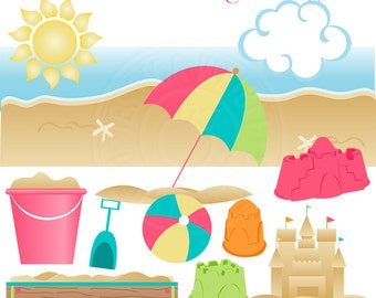 Pink Sandcastle Play Cute Digital Clipart for Card Design, Scrapbooking, and Web Design - Summer Beach Clipart, Beach Clip Art, Sandbox