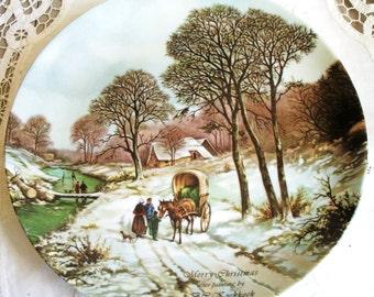 Merry Christmas Decorative Plate, 9.25 inches in Diameter, Merry Christmas by B.C Koekkoek