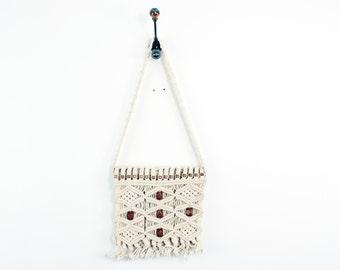 WOVEN 70s Retro Cream Canvas Crocheted Macrame Knit  Boho Earthy Wooden Beaded Gypsy Indie Tote Messenger Bag Purse Handbag Bag Lady OS