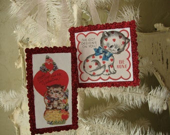 Valentine gift tags ornaments Cute kittens red glittered vintage style valentine gift for friend card scrap tags Valentine's day ornaments