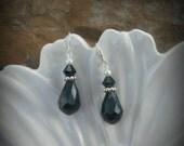 Black Teardrop and Sterling Silver Earrings, Black Teardrop Earrings, Silver Teardrop Black Earrings
